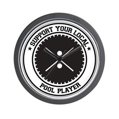 Support Pool Player Wall Clock