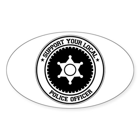 Support Police Officer Oval Sticker (50 pk)