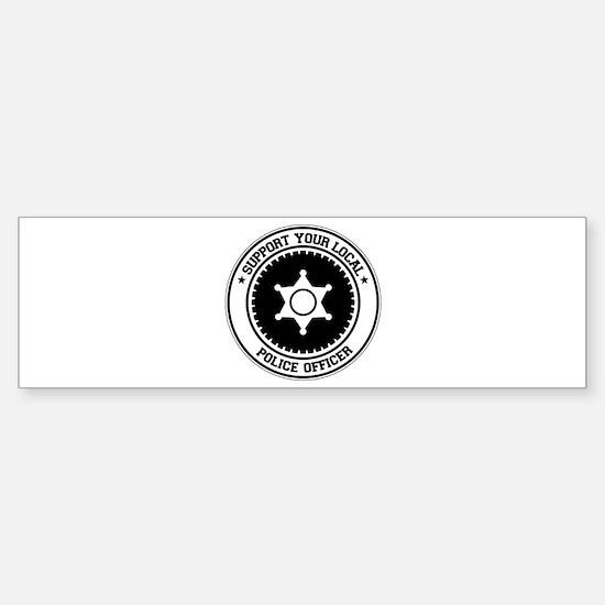 Support Police Officer Bumper Bumper Bumper Sticker
