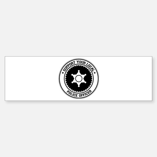 Support Police Officer Bumper Car Car Sticker
