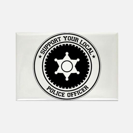 Support Police Officer Rectangle Magnet