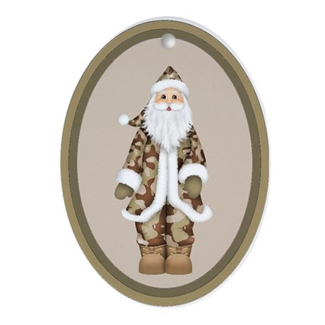 Military Camouflage Santa Claus Oval Ornament