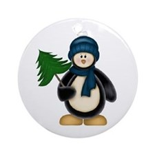 Christmas Penguin And Tree Ornament (Round)