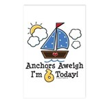 6th Birthday Sailboat Party Postcards (Package of