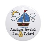 6th Birthday Sailboat Party Ornament (Round)