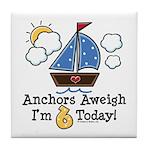 6th Birthday Sailboat Party Tile Coaster