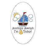 6th Birthday Sailboat Party Oval Sticker (50 pk)