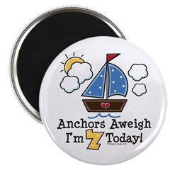 "7th Birthday Sailboat Party 2.25"" Magnet (100 pack"