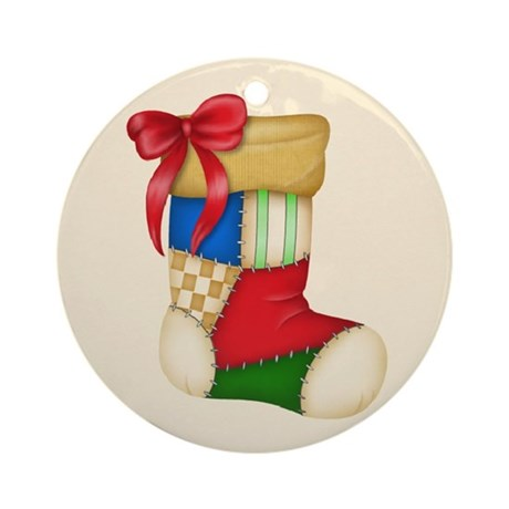 Quilted Christmas Stocking Ornament (Round)