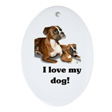 I love my Dog! Oval Ornament