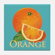 Orange and Orange Slice Tile Coaster