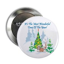 "Christmas Time Shih Tzu 2.25"" Button"