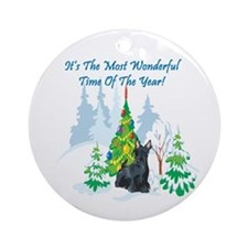 Christmas Time Scottie Ornament (Round)