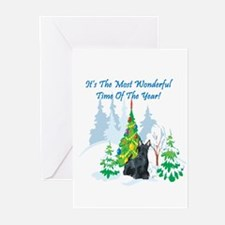 Christmas Time Scottie Greeting Cards (Pk of 10)
