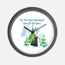 Christmas Time Scottie Wall Clock