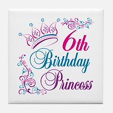 6th Birthday Princess Tile Coaster