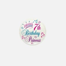 7th Birthday Princess Mini Button