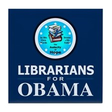 Librarians for Obama Tile Coaster