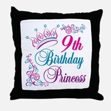 9th Birthday Princess Throw Pillow