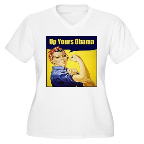 Up Yours Obama Women's Plus Size V-Neck T-Shirt