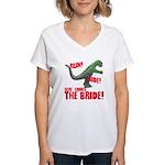 Run Hide Here Comes the Bride Women's V-Neck T-Shi