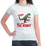 Run Hide Here Comes the Bride Jr. Ringer T-Shirt