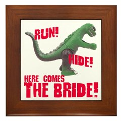 Run Hide Here Comes the Bride Framed Tile
