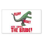 Run Hide Here Comes the Bride Rectangle Sticker