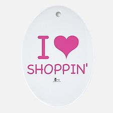 I Love Shoppin' Oval Ornament