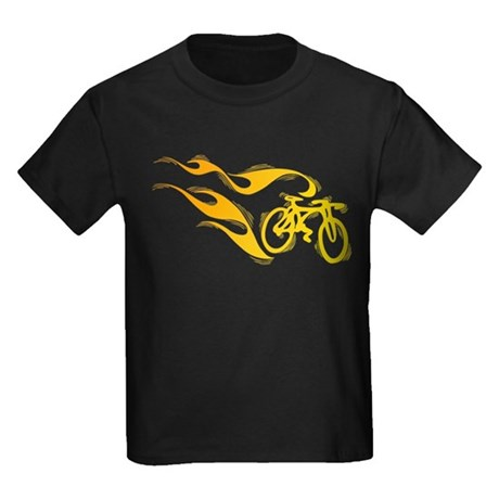 Flaming Bicycle Kids Dark T-Shirt