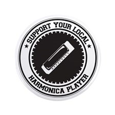"Support Harmonica Player 3.5"" Button"