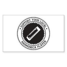 Support Harmonica Player Rectangle Sticker 50 pk)