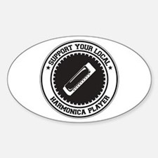 Support Harmonica Player Oval Decal
