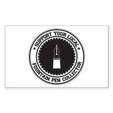 Support Fountain Pen Collector Rectangle Decal