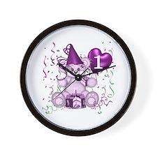 BIRTHDAY AGE: 1 (purple) Wall Clock