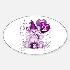 BIRTHDAY AGE: 2 (purple) Oval Decal