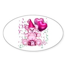 BIRTHDAY/BALLOONS (pink) Oval Decal