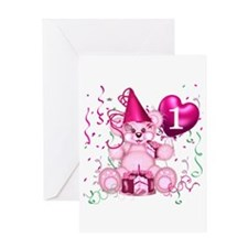 BIRTHDAY AGE 1 (pink) Greeting Card