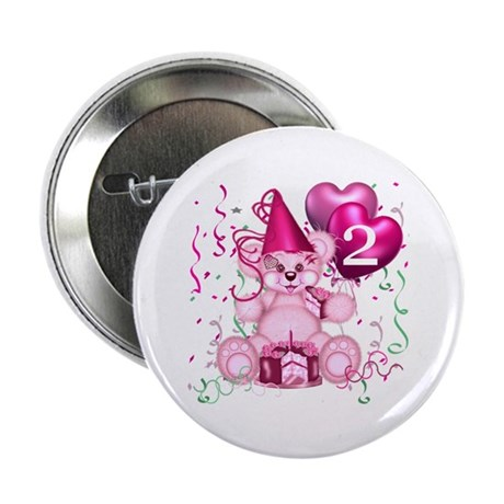 """BIRTHDAY AGE 2 (pink) 2.25"""" Button (100 pack)"""