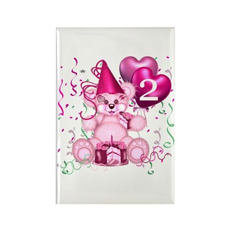 BIRTHDAY AGE 2 (pink) Rectangle Magnet
