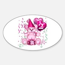 BIRTHDAY AGE 2 (pink) Oval Decal