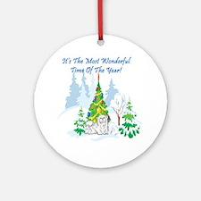 Christmas Time Maltese Ornament (Round)