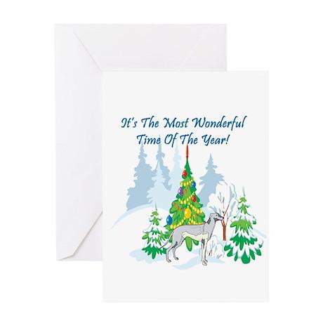 Christmas Time Greyhound Greeting Card