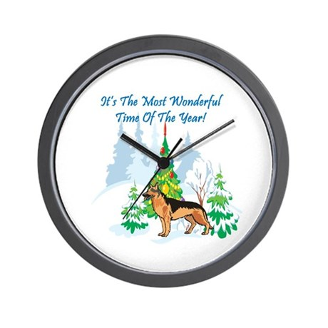 Christmas Time German Shepard Wall Clock