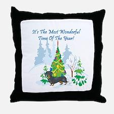 Christmas Time Dachshund Throw Pillow