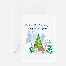 Christmas Time Corgi Greeting Card