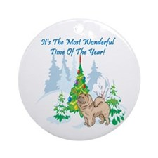 Christmas Time Chow Chow Ornament (Round)