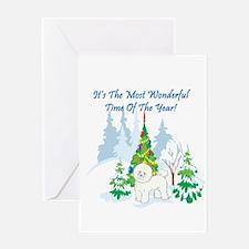 Christmas Time Bichon Frise Greeting Card