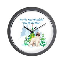 Christmas Time Afghan Hound Wall Clock
