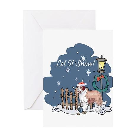 Let It Snow St Bernard Greeting Card